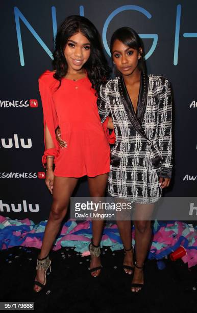 Actresses Teala Dunn and Tetona Jackson attend the premiere of AwesomenessTV's new show All Night at Awesomeness HQ on May 10 2018 in Los Angeles...