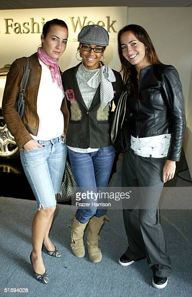 Actresses Teena Collins Marsha Thomason and Nikki Collins pose backstage at the Ella Moss Spring 2005 show at the MercedesBenz Fashion Week at...