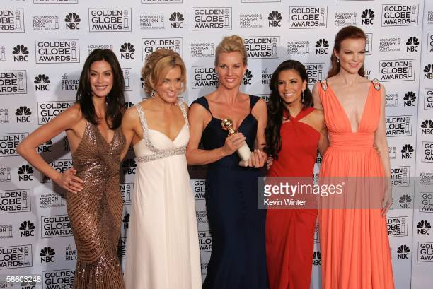 Actresses Teri Hatcher Felicity Huffman Nicollette Sheridan Eva Longoria and Marcia Cross of 'Desperate Housewives' pose backstage during 63rd Annual...