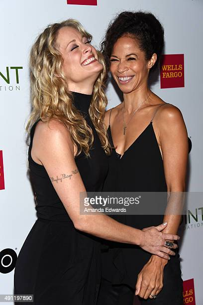 Actresses Teri Polo and Sherri Saum arrive at the Point Foundation's Voices On Point Gala at the Hyatt Regency Century Plaza on October 3 2015 in...