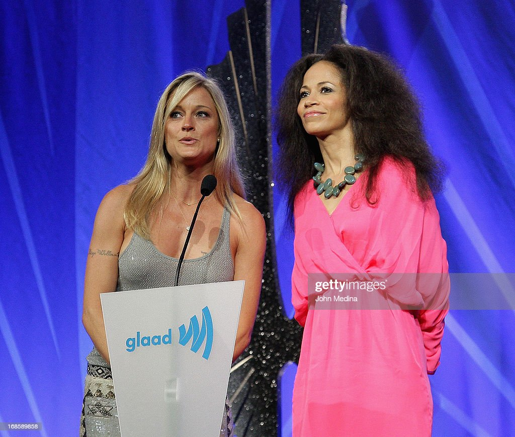 Actresses Teri Polo and Sherri Saum present an award during the 24th Annual GLAAD Media Awards at the Hilton San Francisco - Union Square on May 11, 2013 in San Francisco, California.