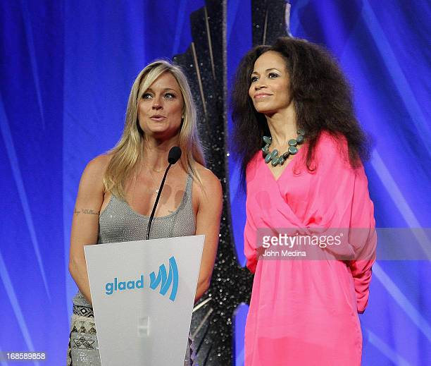 Actresses Teri Polo and Sherri Saum present an award during the 24th Annual GLAAD Media Awards at the Hilton San Francisco Union Square on May 11...