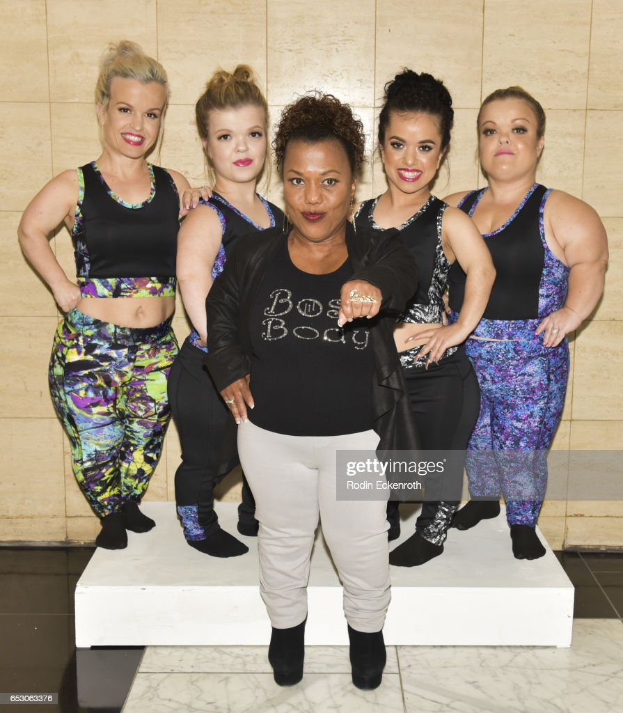 Actresses Terra Jole, Autumn Gibel, designer Tonya Renee Banks, actresses Briana Renee, and Christy Gibel pose for portrait at Tonya Renee Banks' debut of 'Lil Boss Body' clothing line at Fathom on March 13, 2017 in Los Angeles, California.