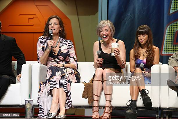 Actresses Terry Farrell Nana Visitor and Hana Hatae joke around as they speak on stage at the 13th annual Star Trek convention at the Rio Hotel...