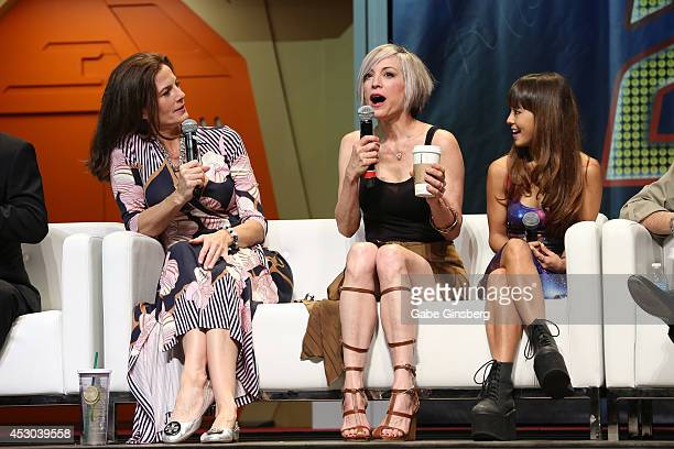 Actresses Terry Farrell Nana Visitor and Hana Hatae speak on stage at the 13th annual Star Trek convention at the Rio Hotel Casino on August 1 2014...