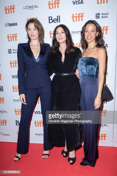 R] Actresses Tess Haubrich Monica Bellucci and Caroline Ford attend the Nekrotonic Midnight Madness Premiere during the Toronto International Film...