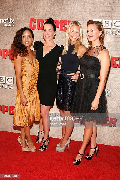 Actresses Tessa Thompson Franka Potente Anastasia Griffith and Tanya Fischer attend the 'Copper' premiere at The Museum of Modern Art on August 15...