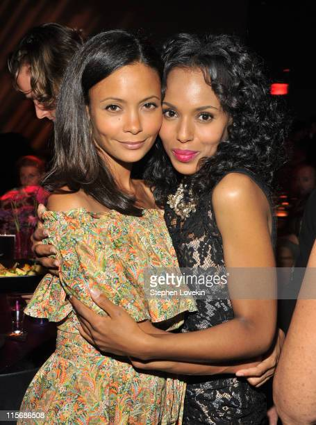Actresses Thandie Newton and Kerry Washington attend VDAY's Viva Vevolution fundraiser at Urban Zen on June 8 2011 in New York City