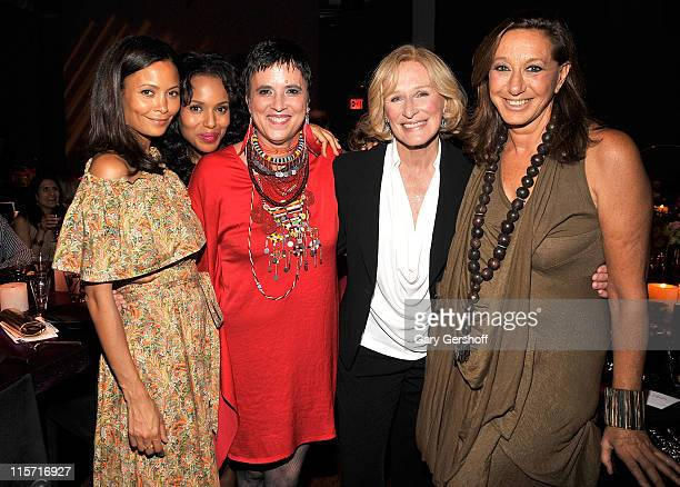 Actresses Thandie Newton Kerry Washington author/activist/VDay Founder Eve Ensler actress Glenn Close and designer Donna Karan attend VDAY's Viva...