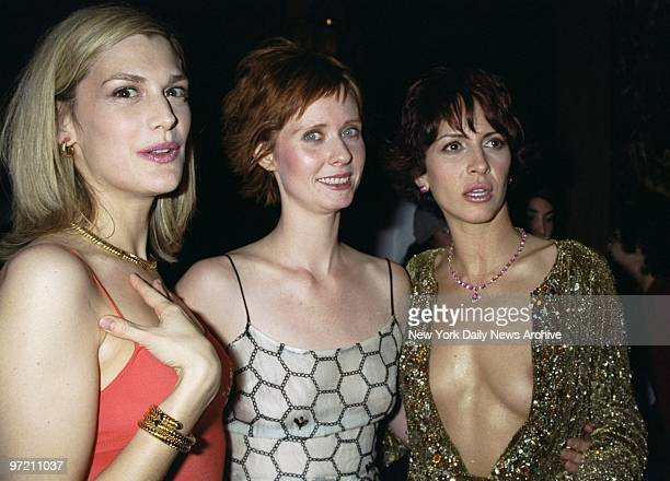 Actresses Thea Gill Cynthia Nixon and Michelle Clunie attend a party for the new Showtime series 'Queer as Folk' at Ruby Foo's restaurant Gill and...