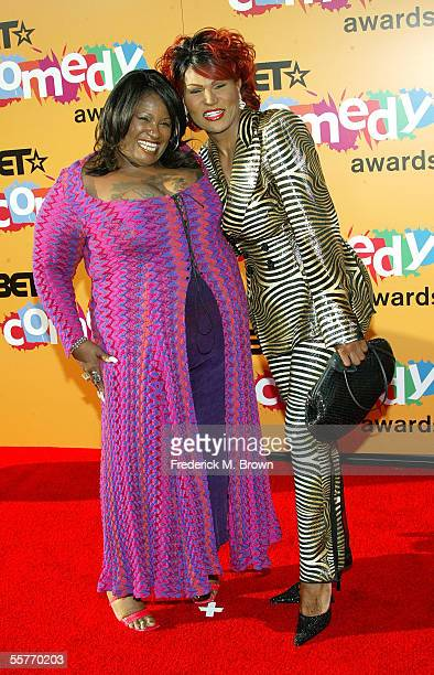 Actresses Thea Vidale and Flame Monroe arrive at the 2005 BET Comedy Icon Awards at the Pasadena Civic Auditorium on September 25 2005 in Pasadena...