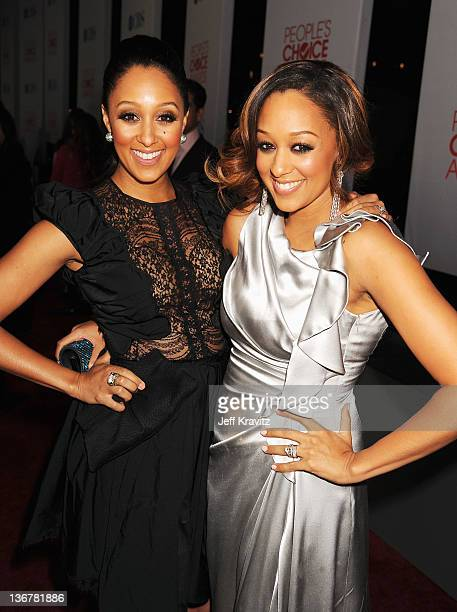 Actresses Tia Mowry and Tamera MowryHousley arrives at the 2012 People's Choice Awards at Nokia Theatre LA Live on January 11 2012 in Los Angeles...