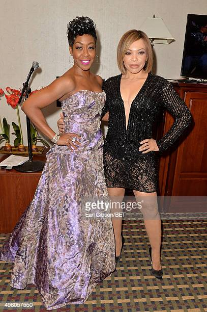 Actresses Tichina Arnold and Tisha CampbellMartin attend the 2015 Soul Train Music Awards at the Orleans Arena on November 6 2015 in Las Vegas Nevada