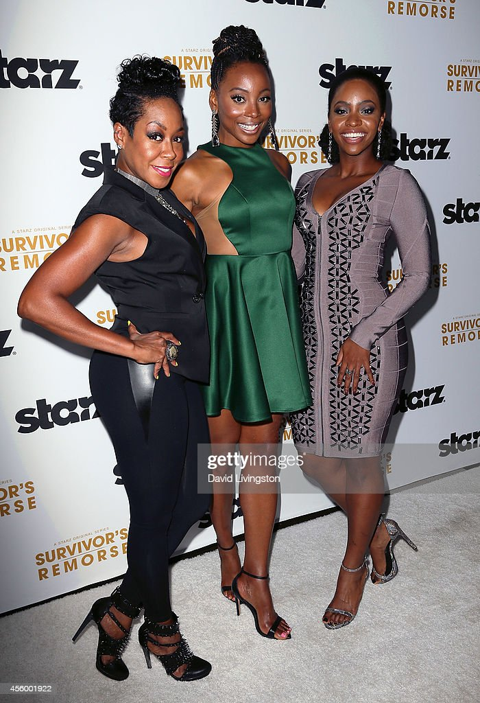Actresses Tichina Arnold, Erica Ash and Teyonah Parris attend the premiere of Starz 'Survivor's Remorse' at the Wallis Annenberg Center for the Performing Arts on September 23, 2014 in Beverly Hills, California.
