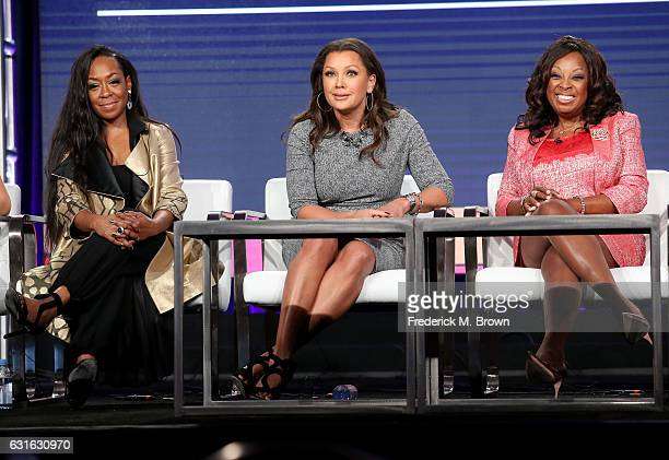 Actresses Tichina Arnold Vanessa Williams and Star Jones of the series 'Daytime Divas' speak onstage during the VH1 portion of the 2017 Winter...