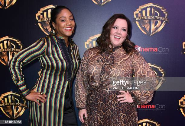 US actresses Tiffany Haddish and Melissa McCarthy attend the CinemaCon Warner Bros The Big Picture exclusive presentation at the Colosseum Caesars...