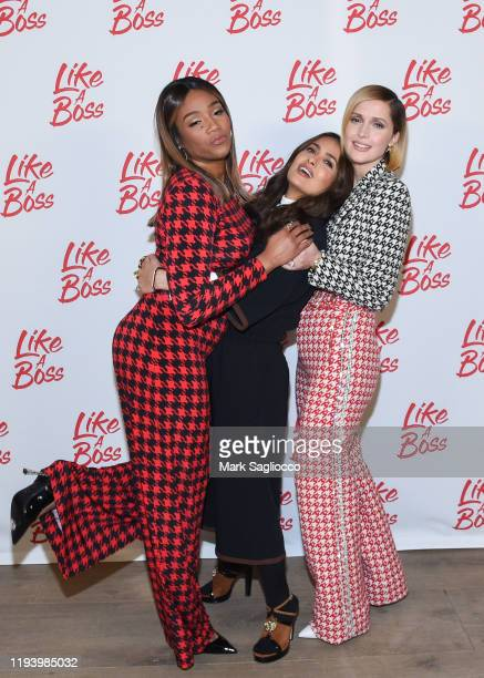 Actresses Tiffany Haddish Salma Hayek and Rose Byrne attend the Like A Boss Photo Call at the Whitby Hotel on December 14 2019 in New York City