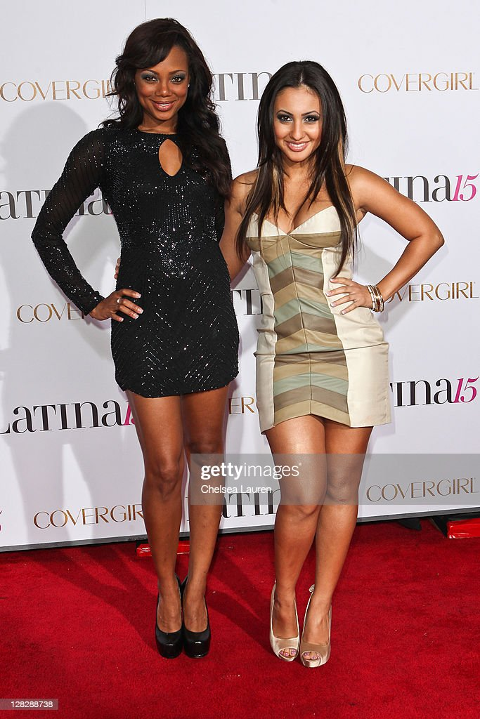 Actresses Tiffany Hines (L) and Francia Raisa (R) attend the celebration of Latina Magazine's 15th anniversary at The Globe Theatre on October 5, 2011 in Universal City, California.