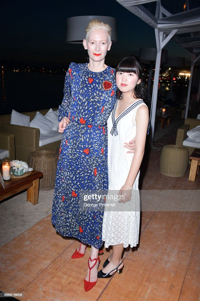 Actresses Tilda Swinton and Ahn Seo-Hyun attend the Hollywood Foreign Press Association's 2017 Cannes Film Festival Event in honour of the International Rescue Committee during the 70th Annual Cannes Film Festival on May 21, 2017 in Cannes, France.