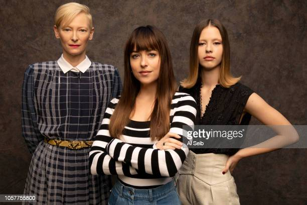 Actresses Tilda Swinton Dakota Johnson and Mia Goth are photographed for Los Angeles Times on October 24 2018 in Los Angeles California PUBLISHED...
