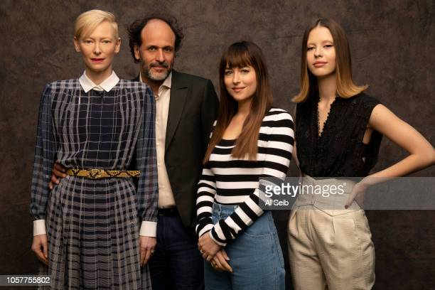 Actresses Tilda Swinton Dakota Johnson Mia Goth and director Luca Guadignino are photographed for Los Angeles Times on October 24 2018 in Los Angeles...