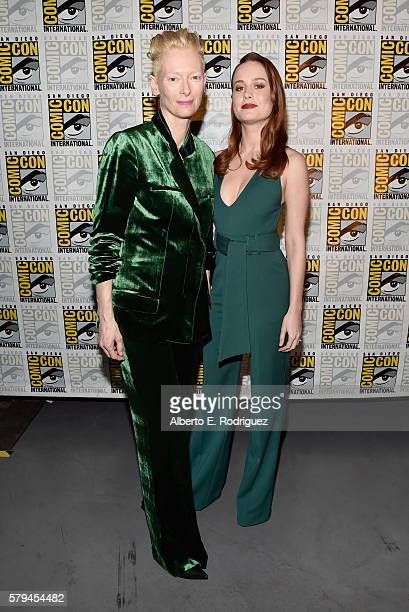 "Actresses Tilda Swinton from Marvel Studios' 'Doctor Strange"" and Brie Larson announced as Captain Marvel/Carol Danvers attend the San Diego ComicCon..."