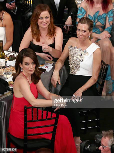 Actresses Tina Fey Amy Poehler and Kristen Wiig attend The 22nd Annual Screen Actors Guild Awards at The Shrine Auditorium on January 30 2016 in Los...