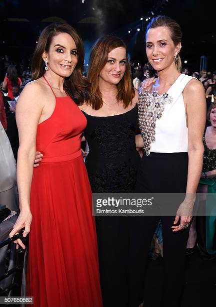 Actresses Tina Fey Amy Poehler and Kristen Wiig in the audience during The 22nd Annual Screen Actors Guild Awards at The Shrine Auditorium on January...