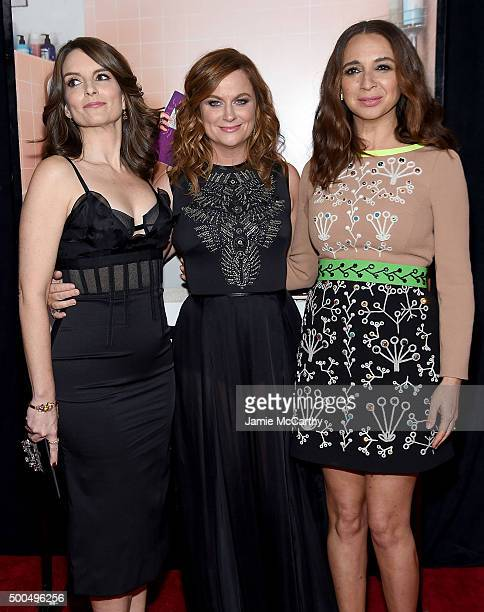 Actresses Tina Fey Amy Poehler and Maya Rudolph attend the 'Sisters' New York Premiere at Ziegfeld Theater on December 8 2015 in New York City