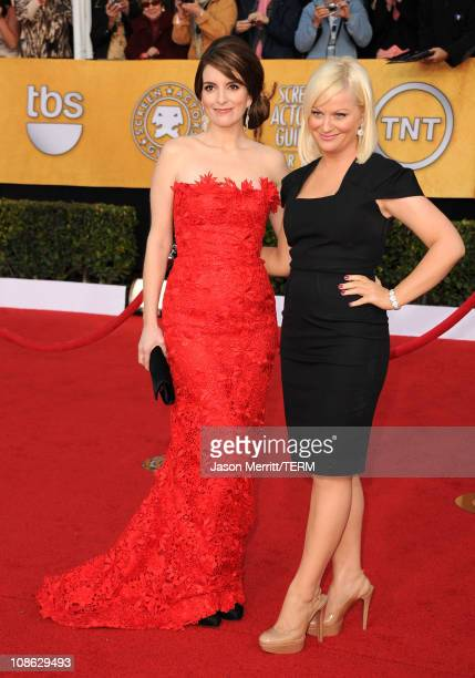 Actresses Tina Fey and Amy Poehler arrive at the 17th Annual Screen Actors Guild Awards held at The Shrine Auditorium on January 30 2011 in Los...