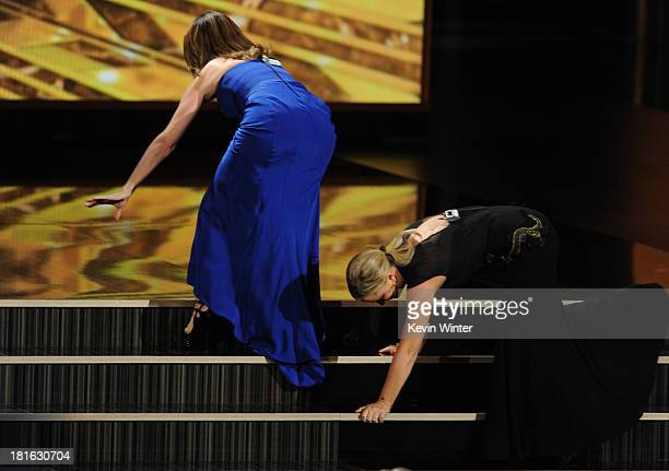 Actresses Tina Fey and Amy Poehler perform onstage during the 65th Annual Primetime Emmy Awards held at Nokia Theatre L.A. Live on September 22, 2013...
