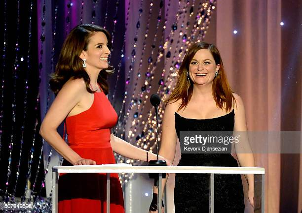 Actresses Tina Fey and Amy Poehler speak onstage during the 22nd Annual Screen Actors Guild Awards at The Shrine Auditorium on January 30 2016 in Los...