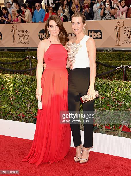 Actresses Tina Fey and Kristen Wiig attend The 22nd Annual Screen Actors Guild Awards at The Shrine Auditorium on January 30 2016 in Los Angeles...