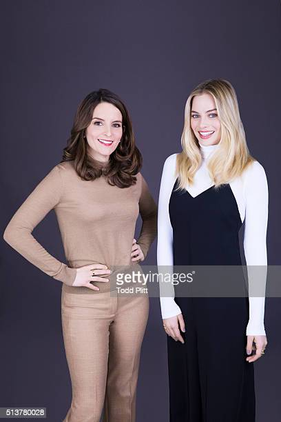 Actresses Tina Fey and Margot Robbie are photographed for USA Today on February 19 2016 in New York City