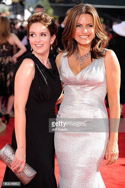 Actresses Tina Fey and Mariska Hargitay arrive at the 61st Primetime Emmy Awards held at the Nokia Theatre on September 20 2009 in Los Angeles...