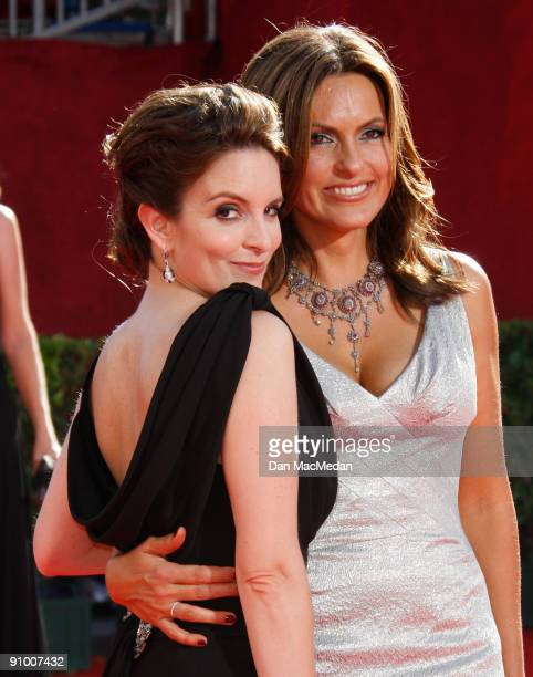 Actresses Tina Fey and Mariska Hargitay arrives at the 61st Primetime Emmy Awards held at the Nokia Theatre on September 20 2009 in Los Angeles...