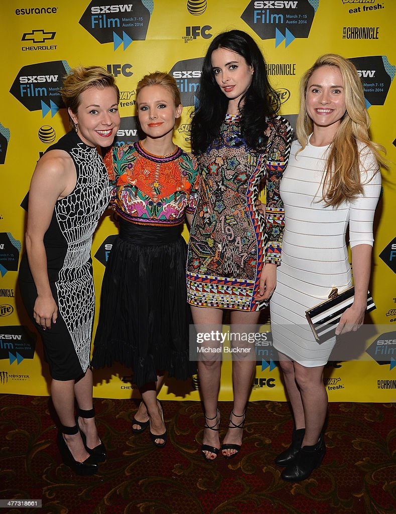 Actresses Tina Majorino, Kristen Bell, Krysten Ritter and Amanda Noret pose in the green room at the premiere of 'Veronica Mars' during the 2014 SXSW Music, Film + Interactive Festival at the Paramount Theatre on March 8, 2014 in Austin, Texas.