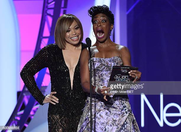 Actresses Tisha CampbellMartin and Tichina Arnold present an award during the 2015 Soul Train Music Awards at the Orleans Arena on November 6 2015 in...