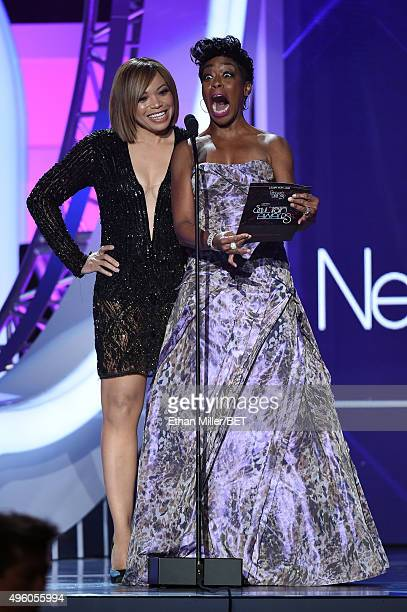 Actresses Tisha Campbell-Martin and Tichina Arnold speak onstage during the 2015 Soul Train Music Awards at the Orleans Arena on November 6, 2015 in...