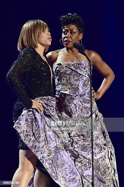 Actresses Tisha CampbellMartin and Tichina Arnold speak onstage during the 2015 Soul Train Music Awards at the Orleans Arena on November 6 2015 in...