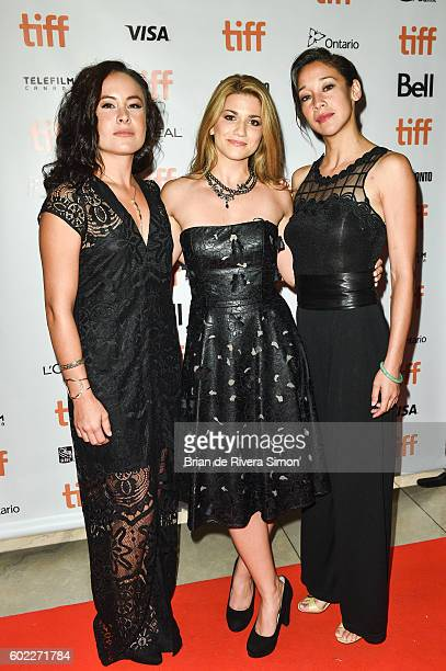 Actresses TommieAmber Pirie Elise Bauman and Mayko Nguyen attend the 'Below Her Mouth' premiere during 2016 Toronto International Film Festival at...