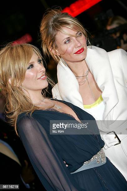 Actresses Toni Collette and Cameron Diaz arrive at the UK Premiere of In Her Shoes at the Empire Leicester Square on November 7 2005 in London England