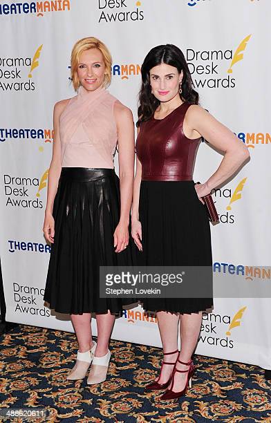 Actresses Toni Collette and Idina Menzel attend the 2014 Drama Desk Awards Nominees Reception at Essex House on May 7 2014 in New York City