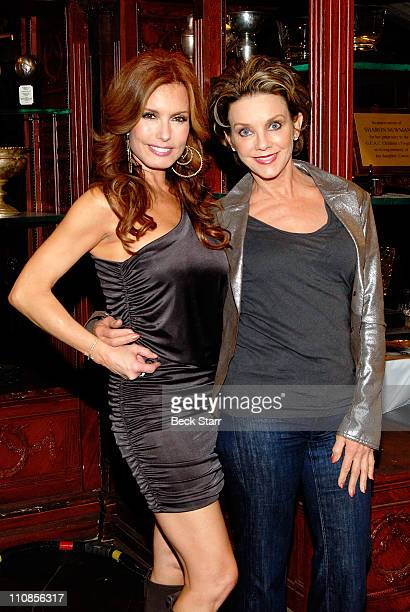 Actresses Tracey E Bregman and Judith Chapman attend CBS' 'Young and the Restless' 38th Anniversary cake cutting at CBS Studios on March 24 2011 in...