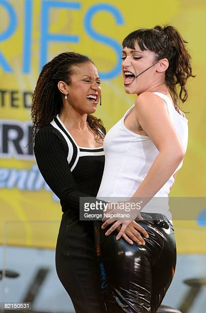 Actresses Tracy Thoms and Eden Espinosa from the Broadway cast of 'Rent' perform on ABC's 'Good Morning America' in Bryant Park on August 1 2008 in...