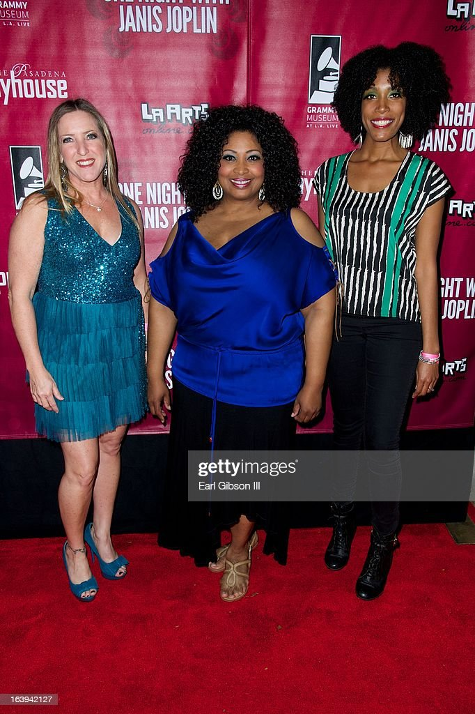 Actresses Tricia Kelly, Kimberly Yarbrough and Shay Saint-Victor pose for a photo on the Opening Night Performance of 'One Night With Janis Joplin' at Pasadena Playhouse on March 17, 2013 in Pasadena, California.