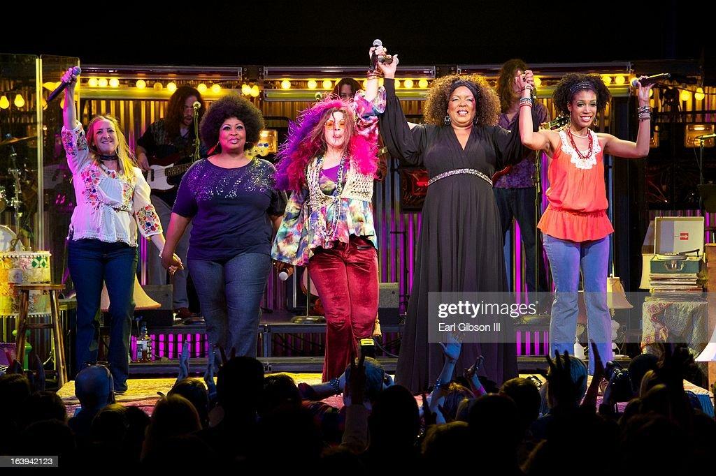 Actresses Tricia Kelly, Kimberly Yarbrough, Mary Bridget Davies, Sabrina Elayne Carten and Shay Saint-Victor give their final bows at the Opening Nights Performance of 'One Night With Janis Joplin' at Pasadena Playhouse on March 17, 2013 in Pasadena, California.