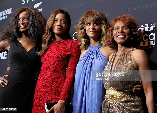 Actresses Trina Parks Naomie Harris Halle Berry and Gloria Hendry attend 'Spectre' The Black Women of Bond Tribute at California African American...