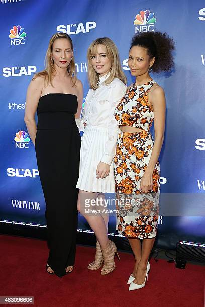 Actresses Uma Thurman Melissa George and Thandie Newton attend 'The Slap' New York Premiere Party at The New Museum on February 9 2015 in New York...