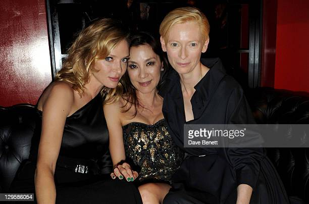 Actresses Uma Thurman Michelle Yeoh and Tilda Swinton attend the Vertu Global Launch Of The 'Constellation' at Palazzo Serbelloni on October 18 2011...